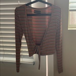 Cropped, wrapped, stripes long sleeve